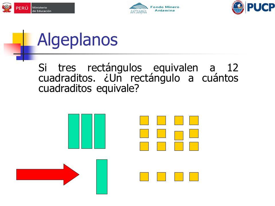 Algeplanos Si tres rectángulos equivalen a 12 cuadraditos.