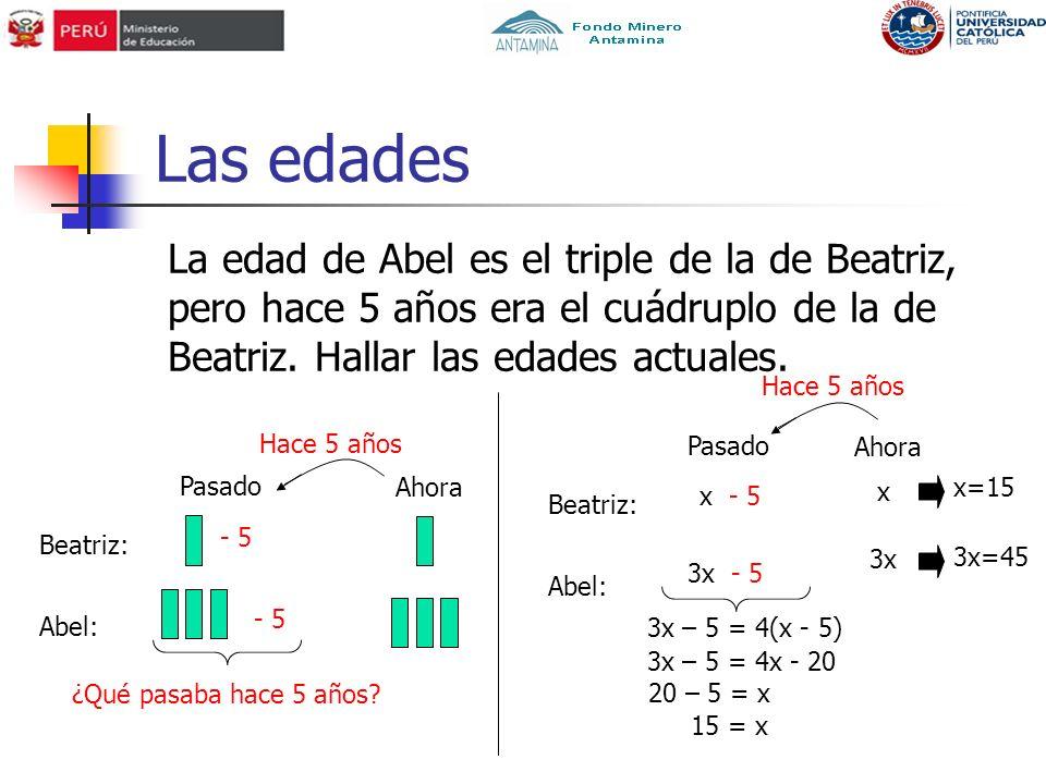 Las edades La edad de Abel es el triple de la de Beatriz, pero hace 5 años era el cuádruplo de la de Beatriz. Hallar las edades actuales.