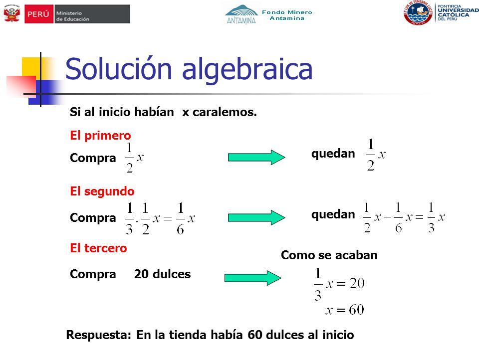 Solución algebraica Si al inicio habían x caralemos. El primero quedan