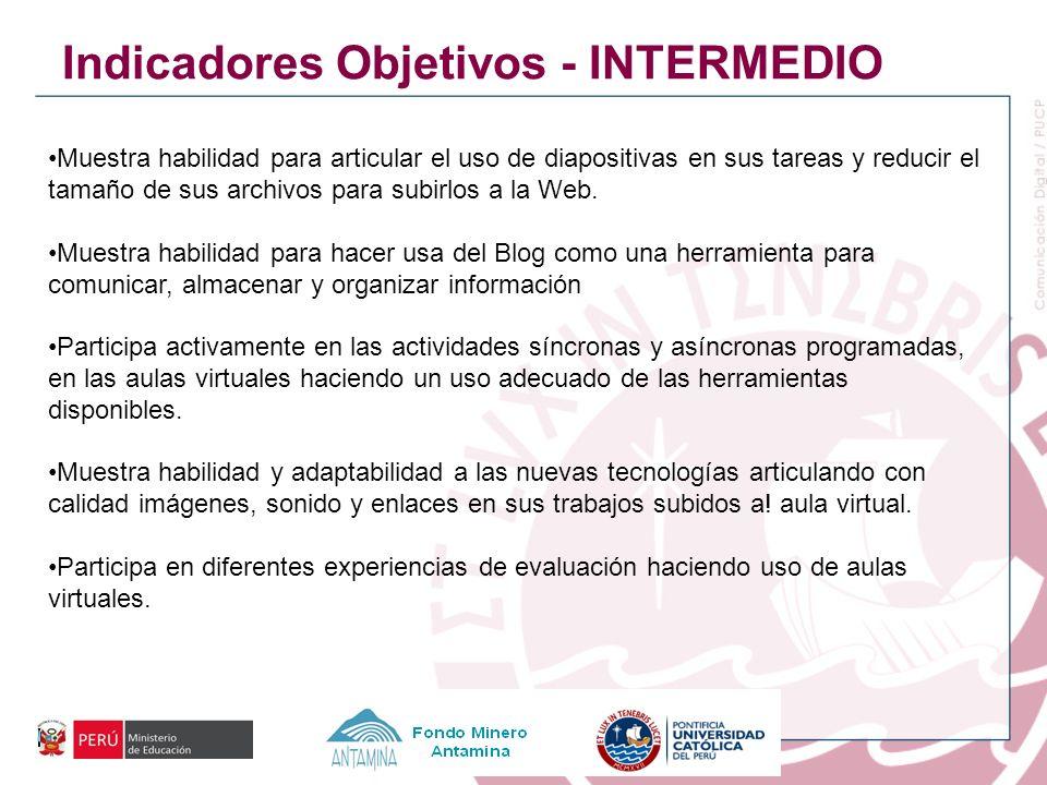 Indicadores Objetivos - INTERMEDIO