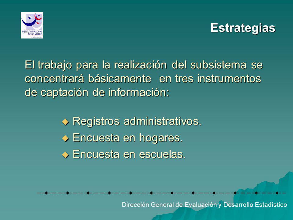 Estrategias El trabajo para la realización del subsistema se concentrará básicamente en tres instrumentos de captación de información: