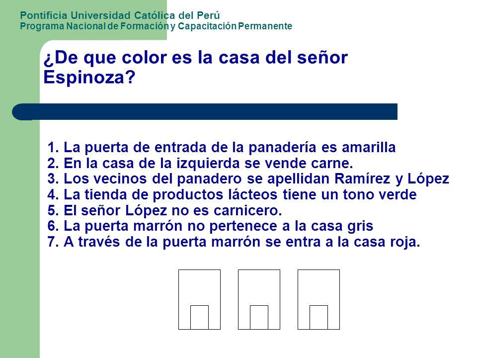 ¿De que color es la casa del señor Espinoza