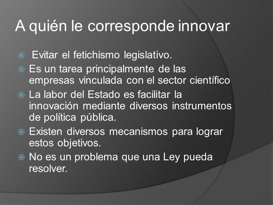 A quién le corresponde innovar