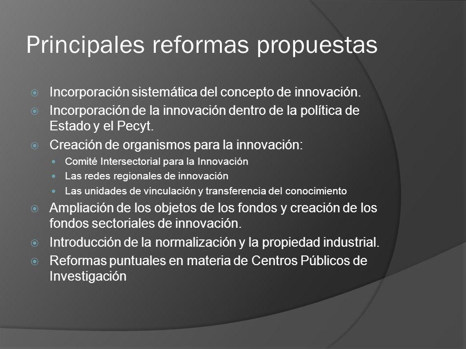 Principales reformas propuestas