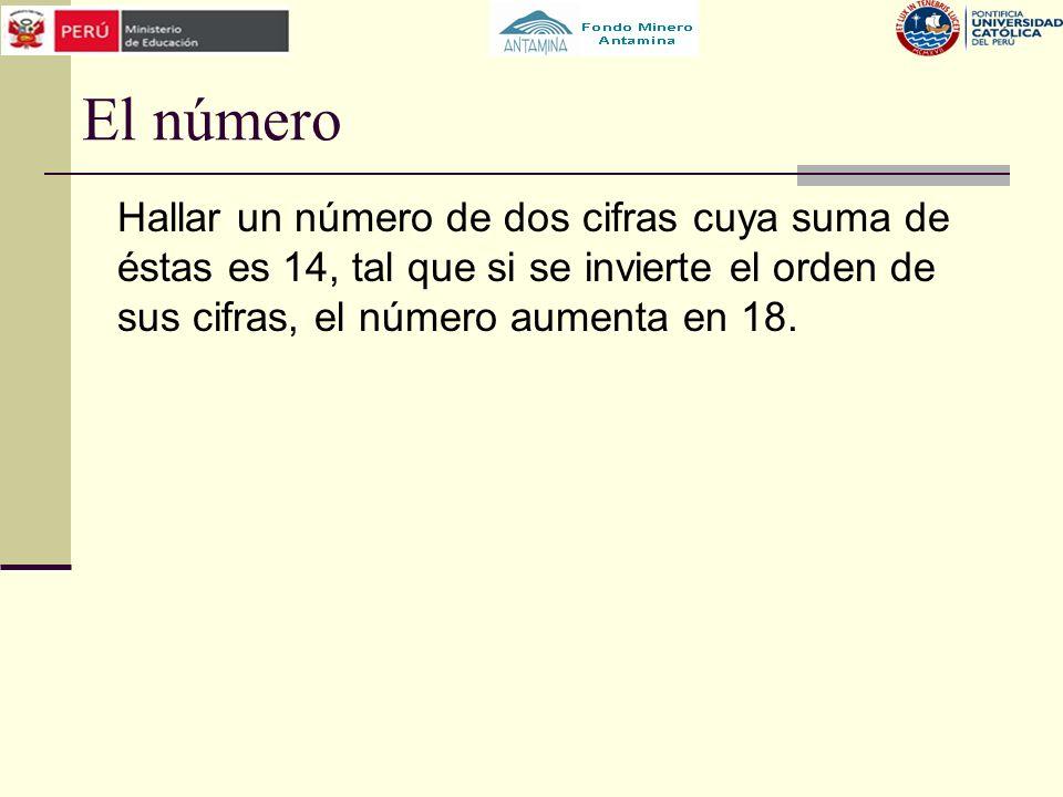 El número Hallar un número de dos cifras cuya suma de éstas es 14, tal que si se invierte el orden de sus cifras, el número aumenta en 18.