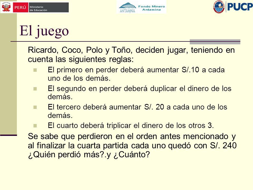 El juego Ricardo, Coco, Polo y Toño, deciden jugar, teniendo en cuenta las siguientes reglas: