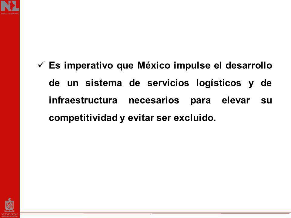 Es imperativo que México impulse el desarrollo de un sistema de servicios logísticos y de infraestructura necesarios para elevar su competitividad y evitar ser excluido.