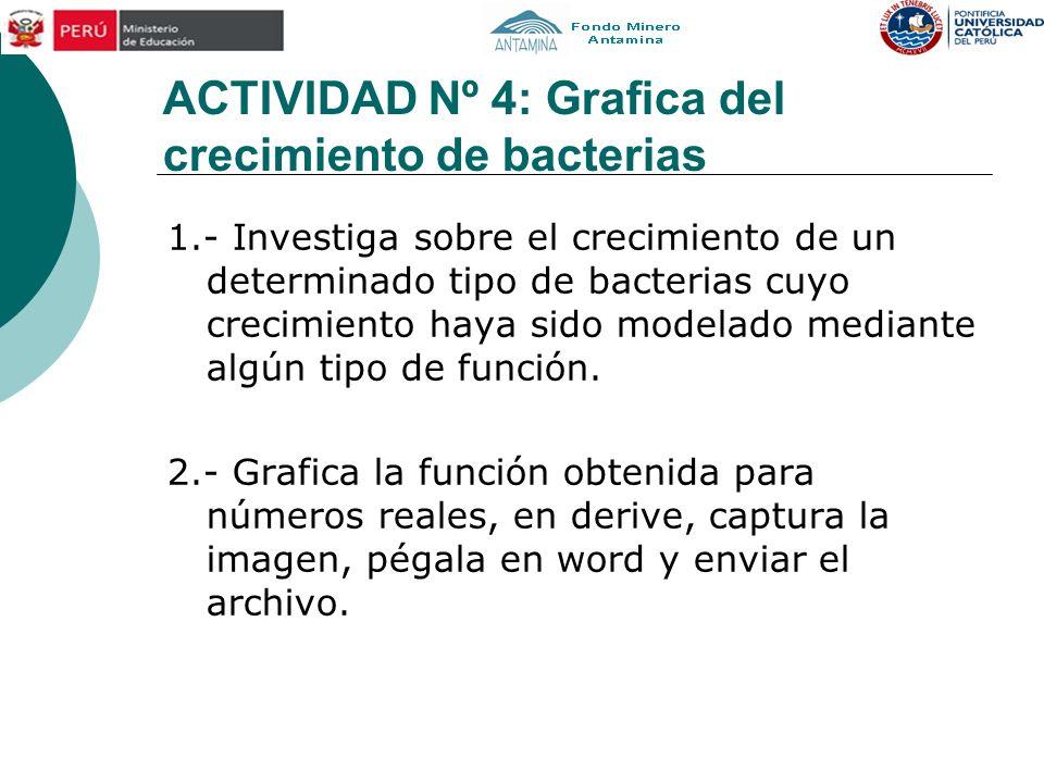 ACTIVIDAD Nº 4: Grafica del crecimiento de bacterias