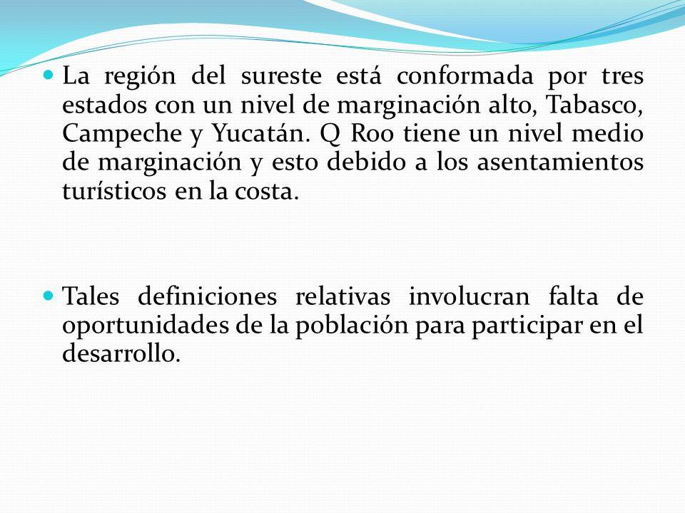 La región del sureste está conformada por tres estados con un nivel de marginación alto, Tabasco, Campeche y Yucatán. Q Roo tiene un nivel medio de marginación y esto debido a los asentamientos turísticos en la costa.