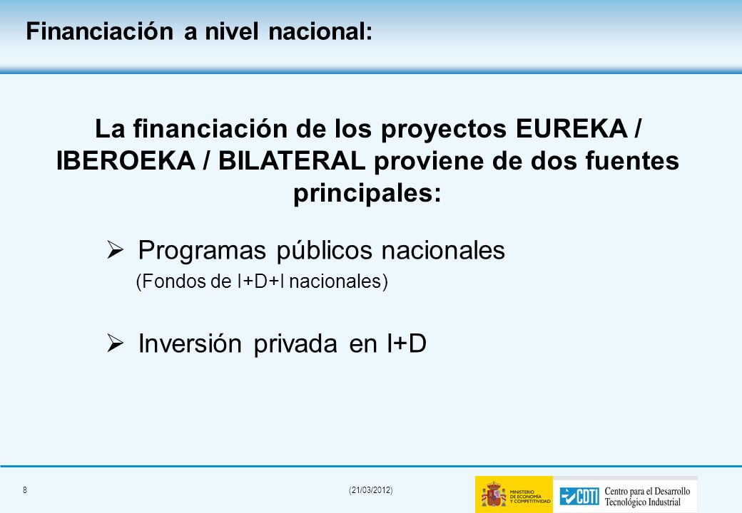 Financiación a nivel nacional: