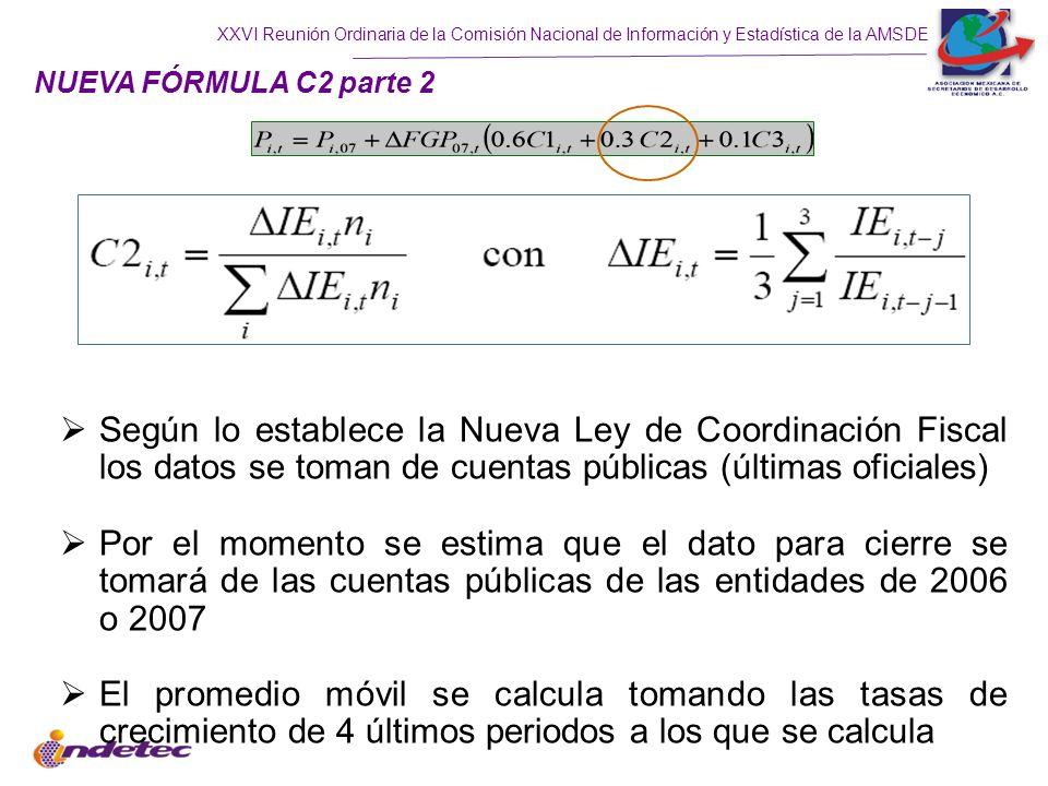 NUEVA FÓRMULA C2 parte 2 Según lo establece la Nueva Ley de Coordinación Fiscal los datos se toman de cuentas públicas (últimas oficiales)