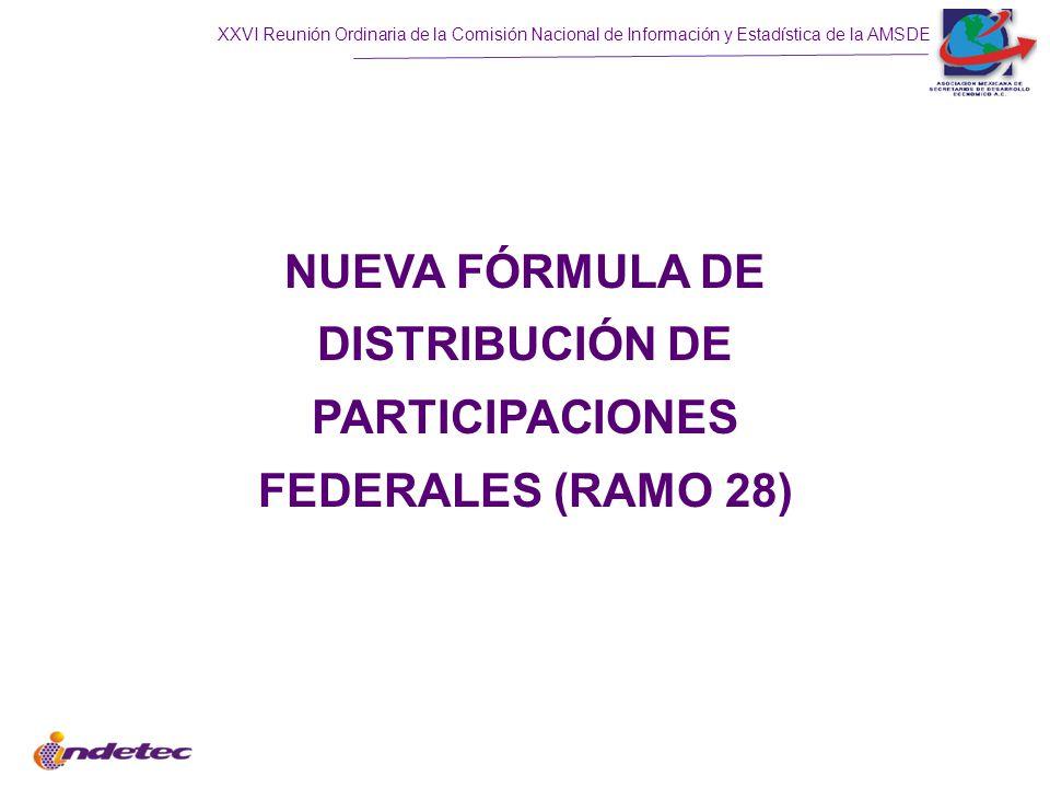 NUEVA FÓRMULA DE DISTRIBUCIÓN DE PARTICIPACIONES FEDERALES (RAMO 28)