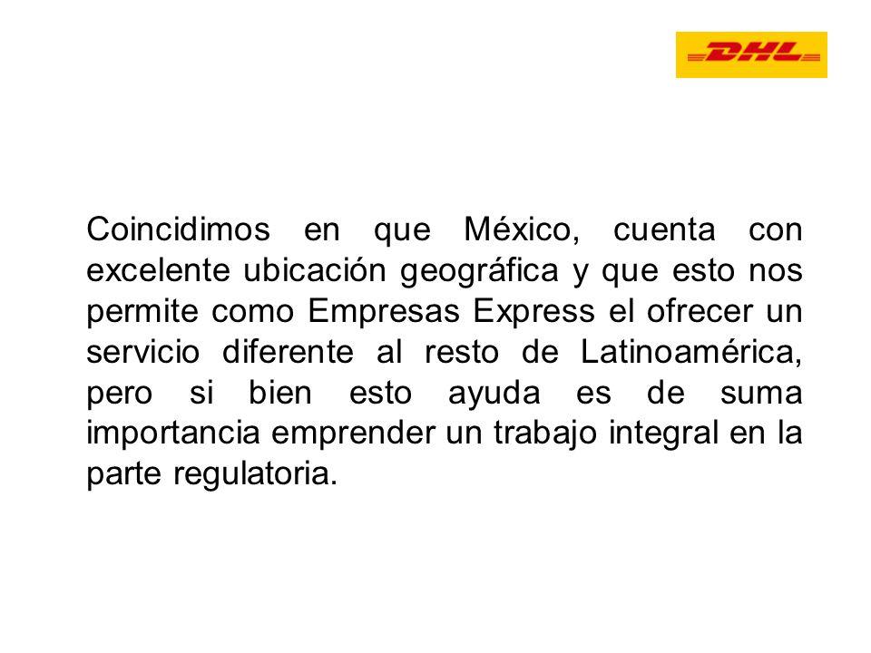 Coincidimos en que México, cuenta con excelente ubicación geográfica y que esto nos permite como Empresas Express el ofrecer un servicio diferente al resto de Latinoamérica, pero si bien esto ayuda es de suma importancia emprender un trabajo integral en la parte regulatoria.