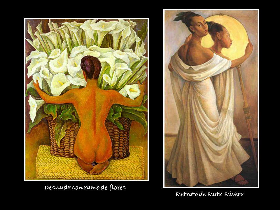 Desnuda con ramo de flores