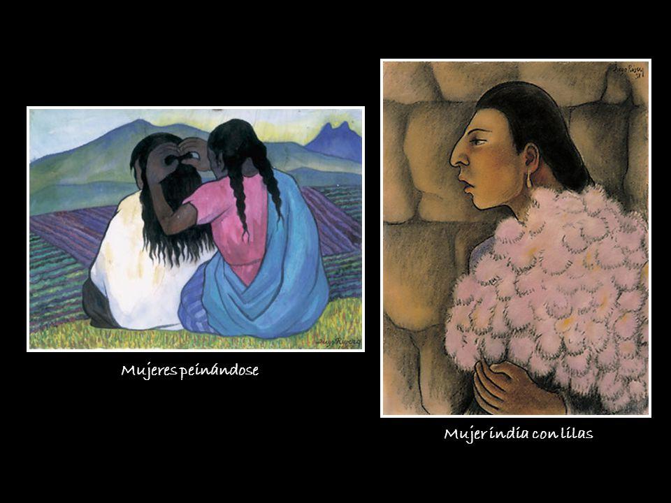 Mujer india con lilas Mujeres peinándose