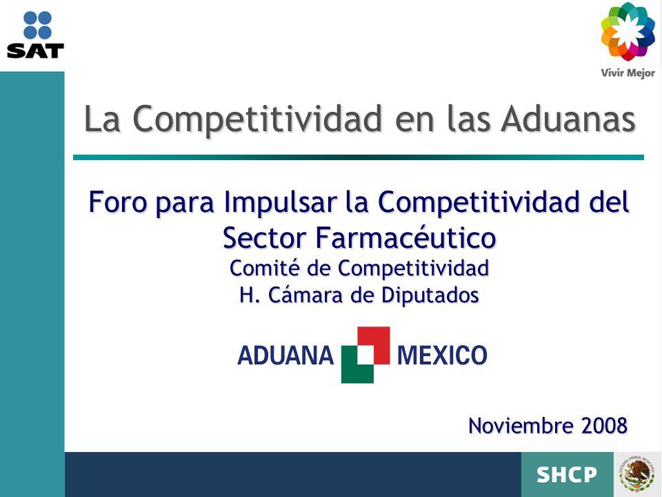 La Competitividad en las Aduanas Foro para Impulsar la Competitividad del Sector Farmacéutico Comité de Competitividad H. Cámara de Diputados