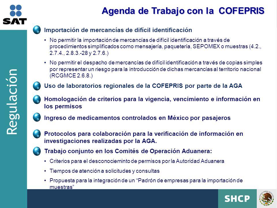 Regulación Agenda de Trabajo con la COFEPRIS