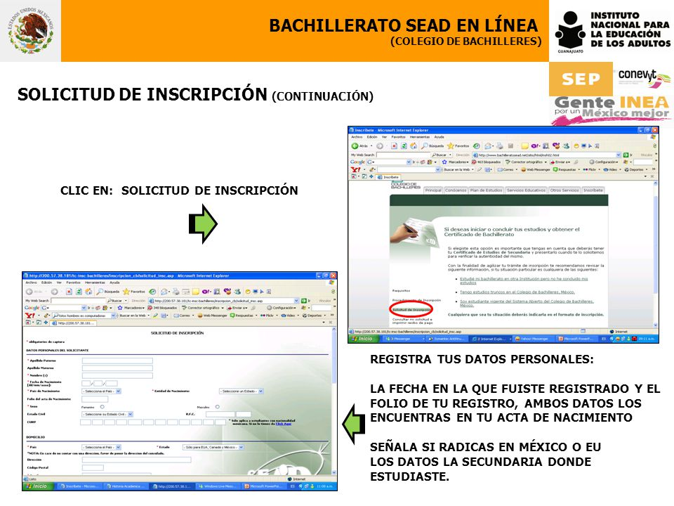 CLIC EN: SOLICITUD DE INSCRIPCIÓN