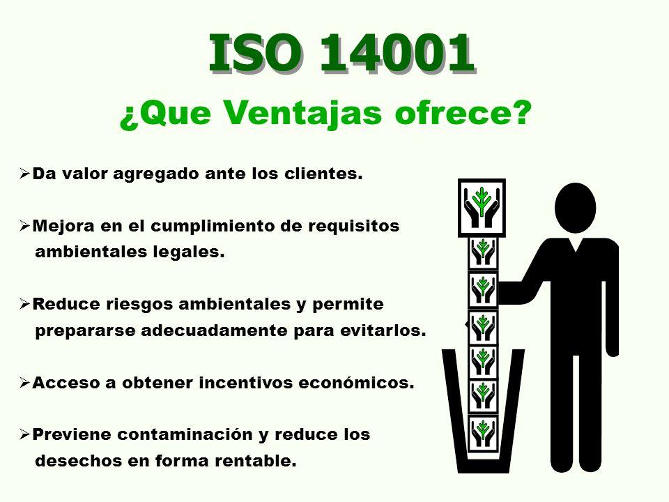 ISO 14001 ¿Que Ventajas ofrece Da valor agregado ante los clientes.