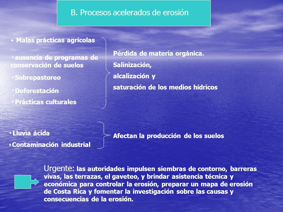 B. Procesos acelerados de erosión
