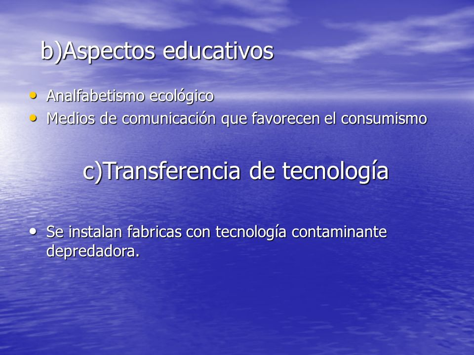 b)Aspectos educativos