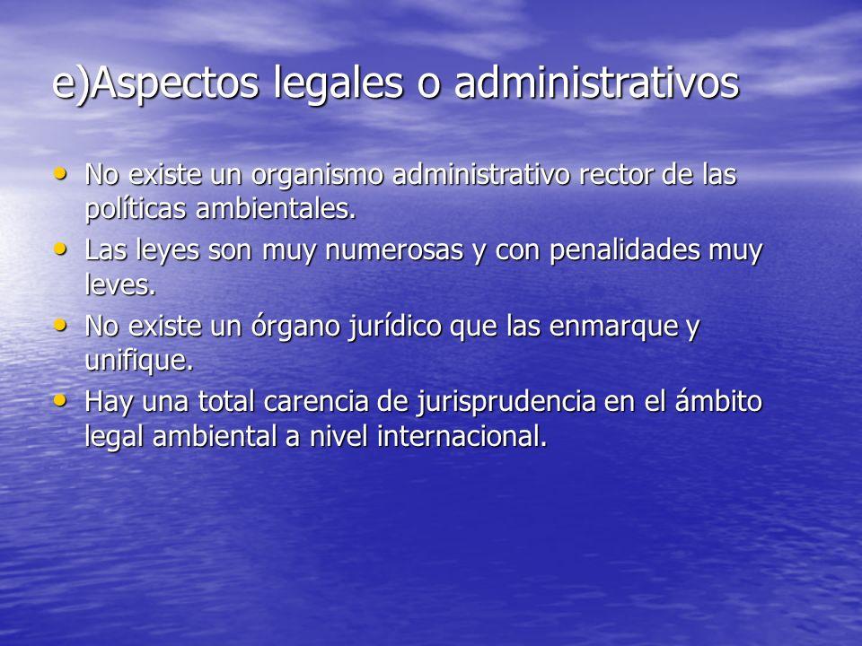 e)Aspectos legales o administrativos