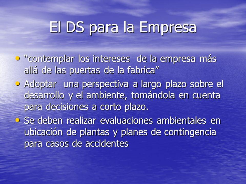 El DS para la Empresa contemplar los intereses de la empresa más allá de las puertas de la fabrica