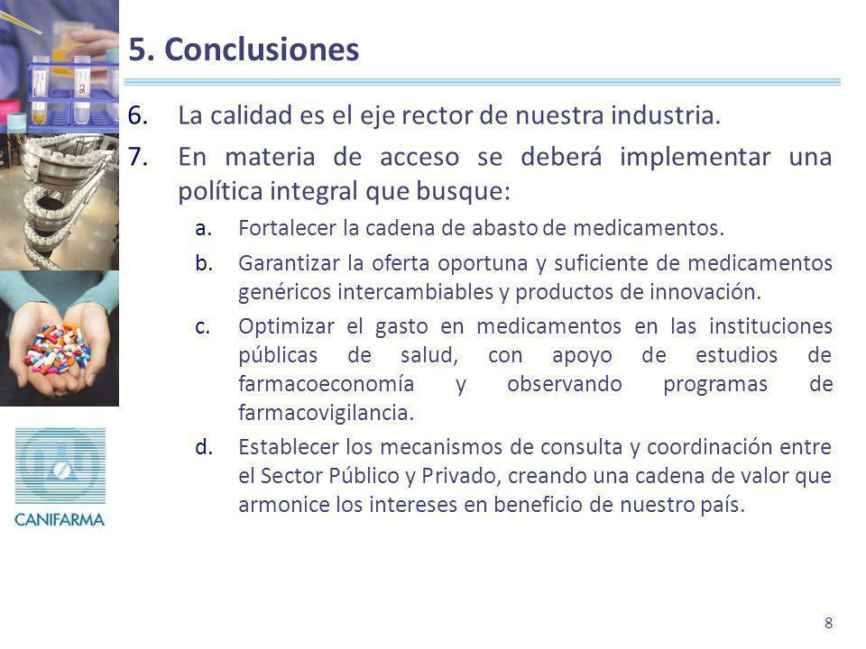 5. Conclusiones La calidad es el eje rector de nuestra industria.