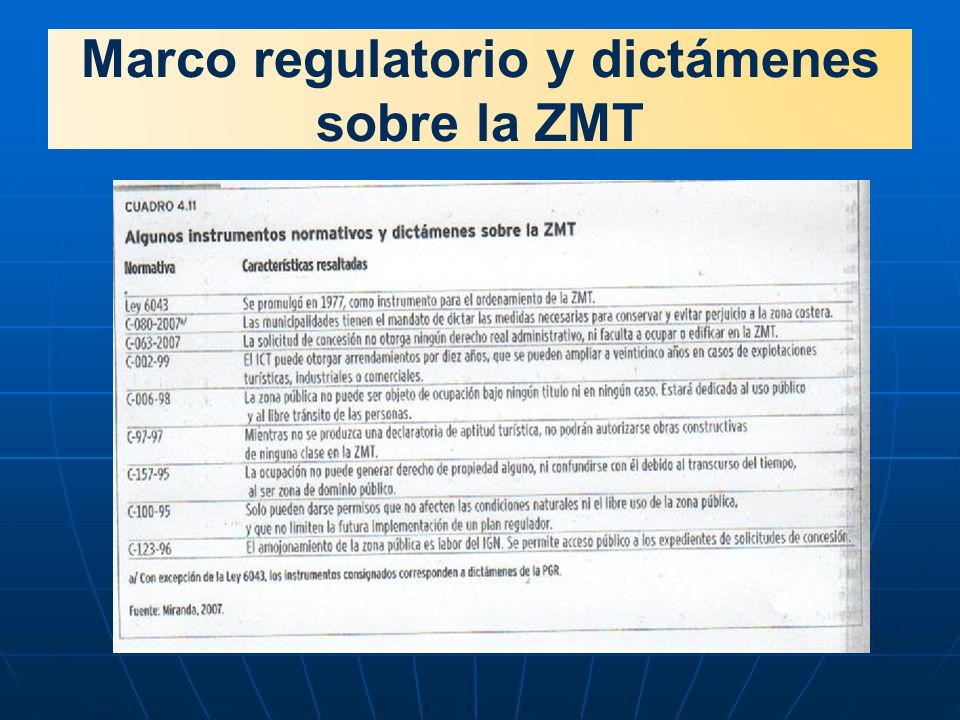 Marco regulatorio y dictámenes sobre la ZMT
