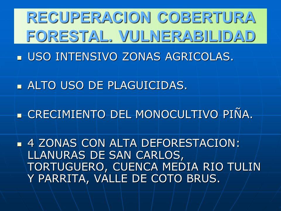 RECUPERACION COBERTURA FORESTAL. VULNERABILIDAD