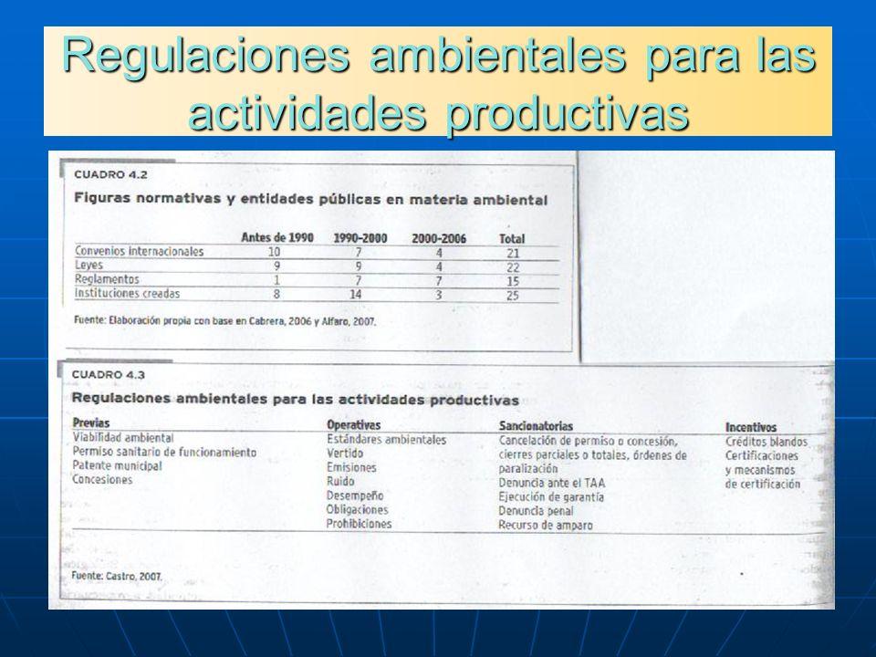 Regulaciones ambientales para las actividades productivas