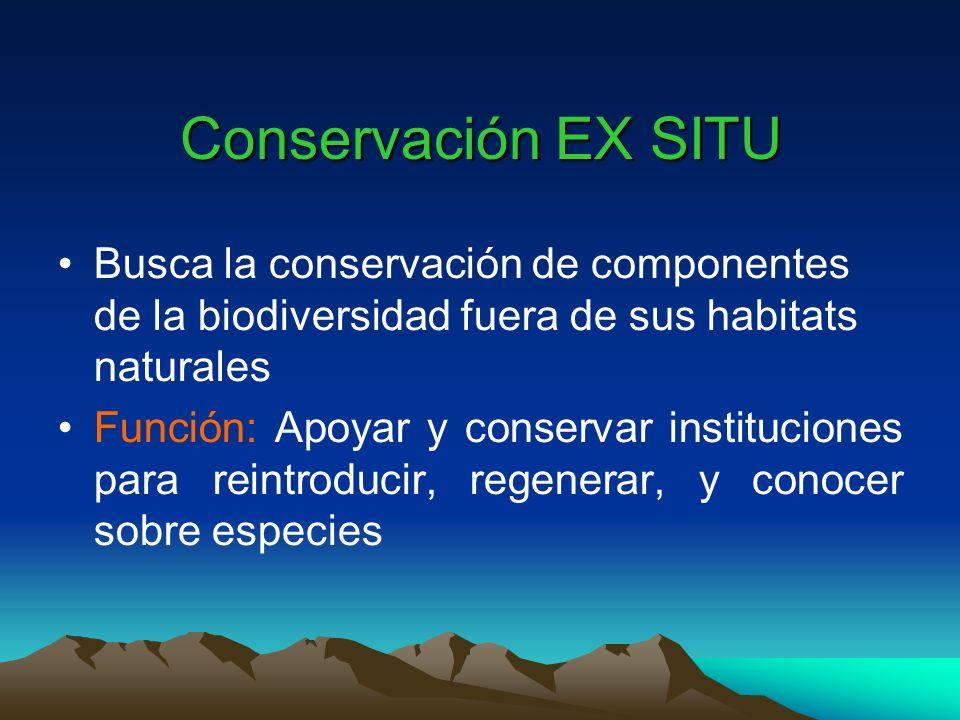 Conservación EX SITU Busca la conservación de componentes de la biodiversidad fuera de sus habitats naturales.