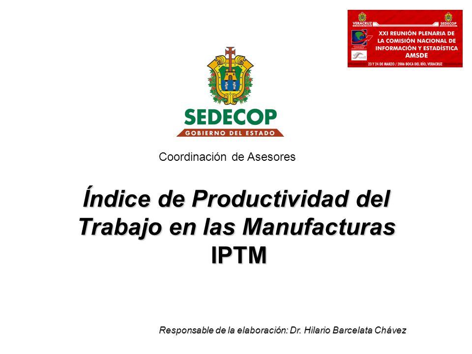 Índice de Productividad del Trabajo en las Manufacturas IPTM