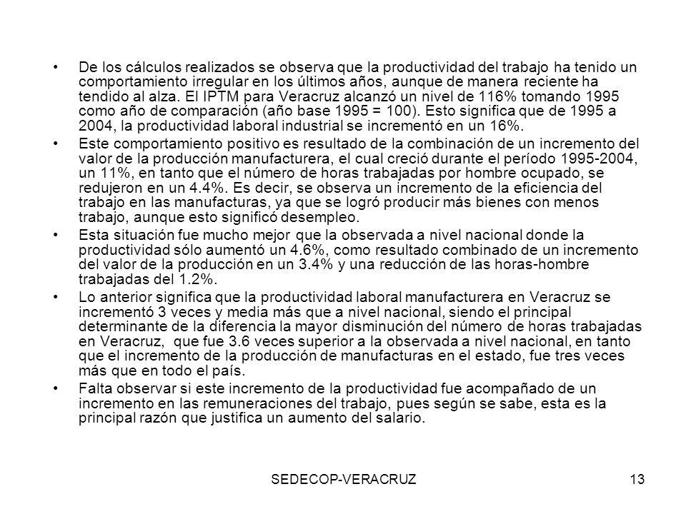 De los cálculos realizados se observa que la productividad del trabajo ha tenido un comportamiento irregular en los últimos años, aunque de manera reciente ha tendido al alza. El IPTM para Veracruz alcanzó un nivel de 116% tomando 1995 como año de comparación (año base 1995 = 100). Esto significa que de 1995 a 2004, la productividad laboral industrial se incrementó en un 16%.