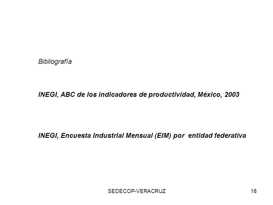 INEGI, ABC de los indicadores de productividad, México, 2003