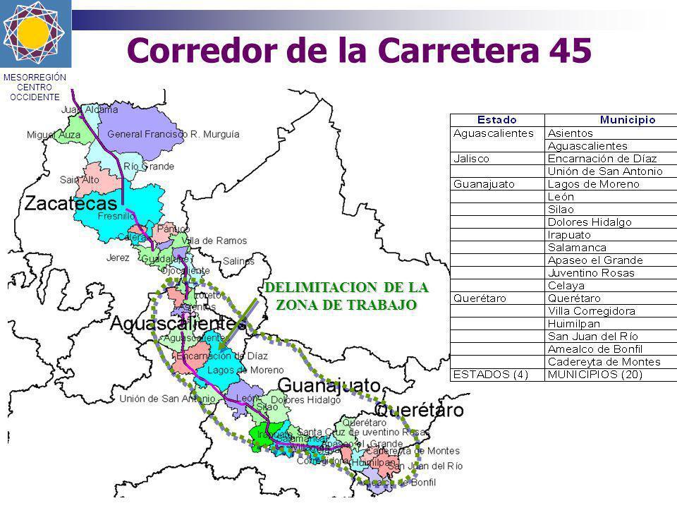 Corredor de la Carretera 45 DELIMITACION DE LA ZONA DE TRABAJO