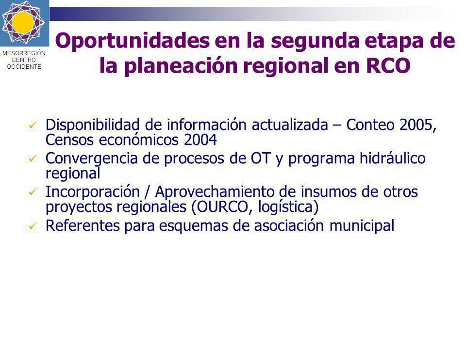 Oportunidades en la segunda etapa de la planeación regional en RCO