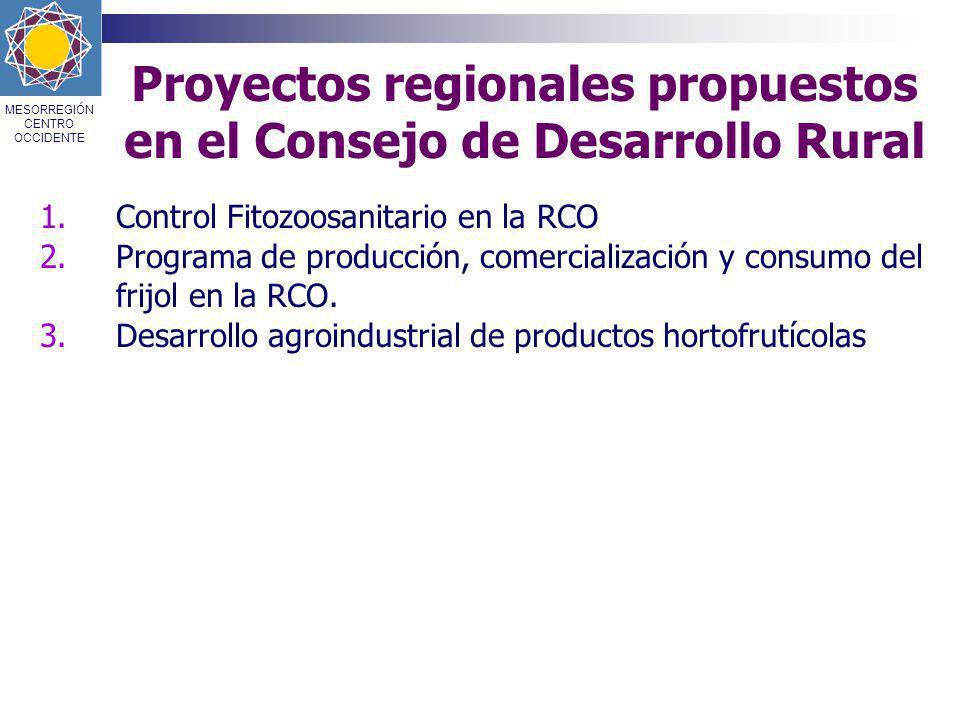 Proyectos regionales propuestos en el Consejo de Desarrollo Rural
