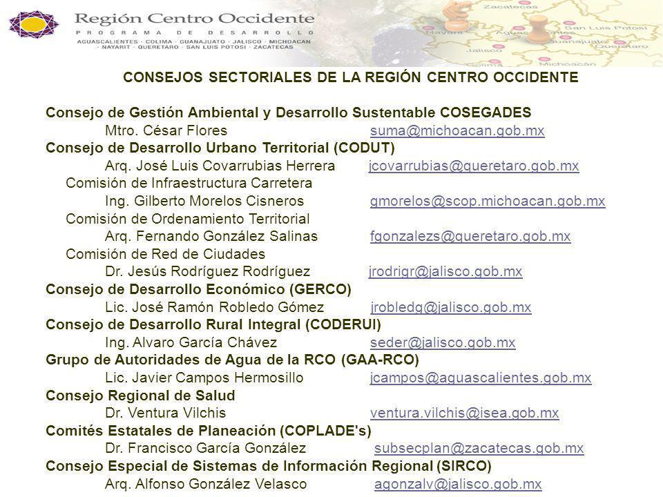 CONSEJOS SECTORIALES DE LA REGIÓN CENTRO OCCIDENTE