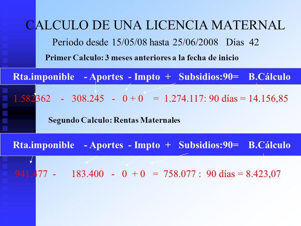 CALCULO DE UNA LICENCIA MATERNAL Periodo desde 15/05/08 hasta 25/06/2008 Días 42