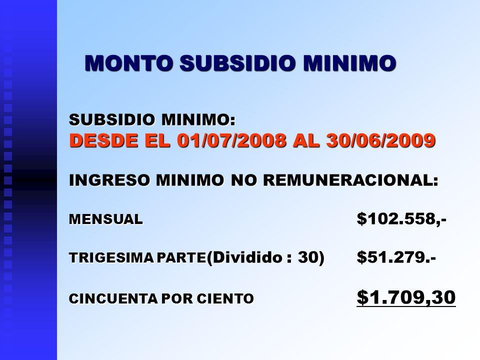 MONTO SUBSIDIO MINIMO DESDE EL 01/07/2008 AL 30/06/2009