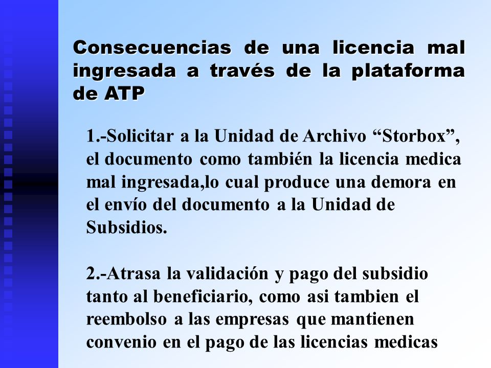 Consecuencias de una licencia mal ingresada a través de la plataforma de ATP