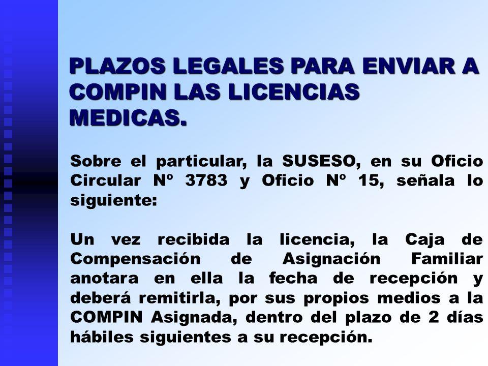 PLAZOS LEGALES PARA ENVIAR A COMPIN LAS LICENCIAS MEDICAS.
