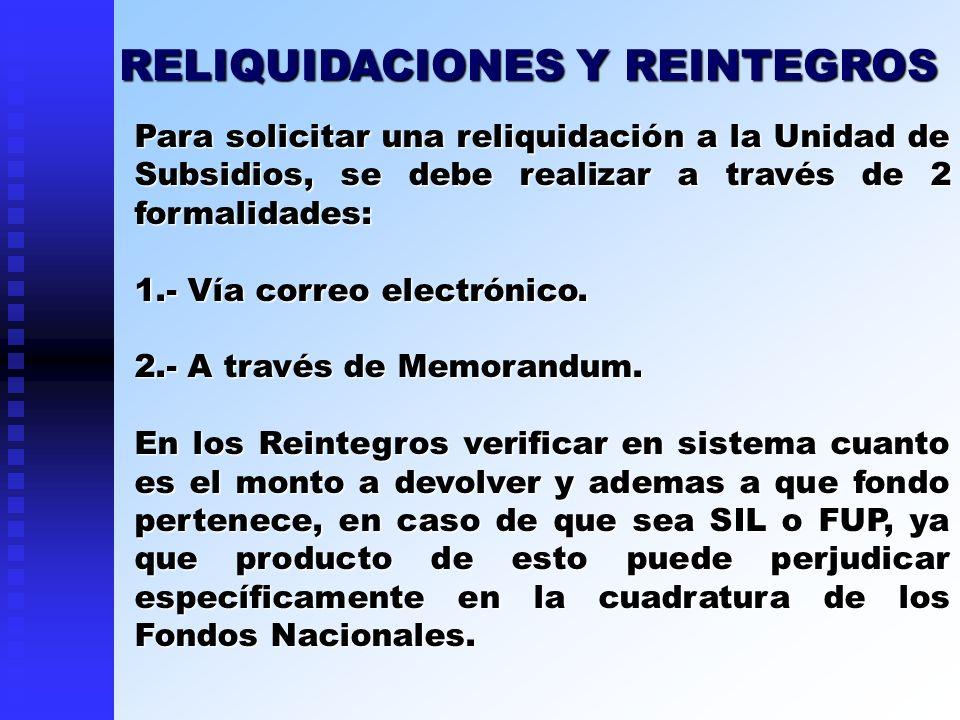 RELIQUIDACIONES Y REINTEGROS