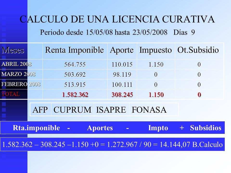 Rta.imponible - Aportes - Impto + Subsidios