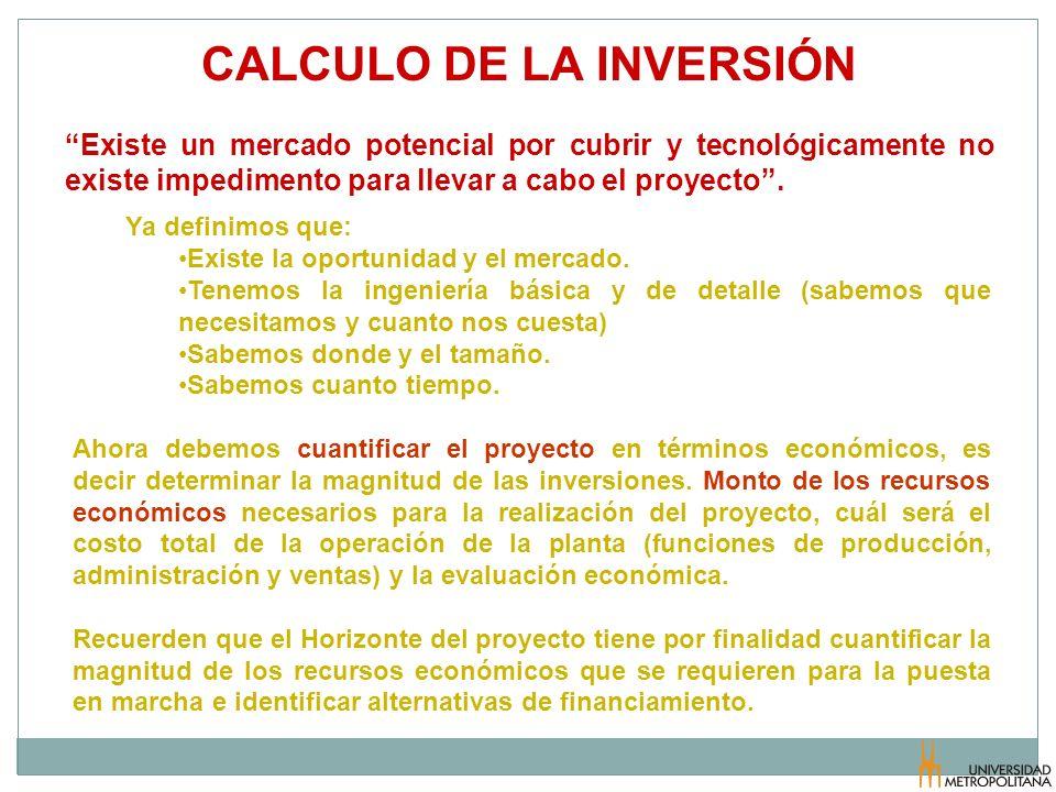 CALCULO DE LA INVERSIÓN