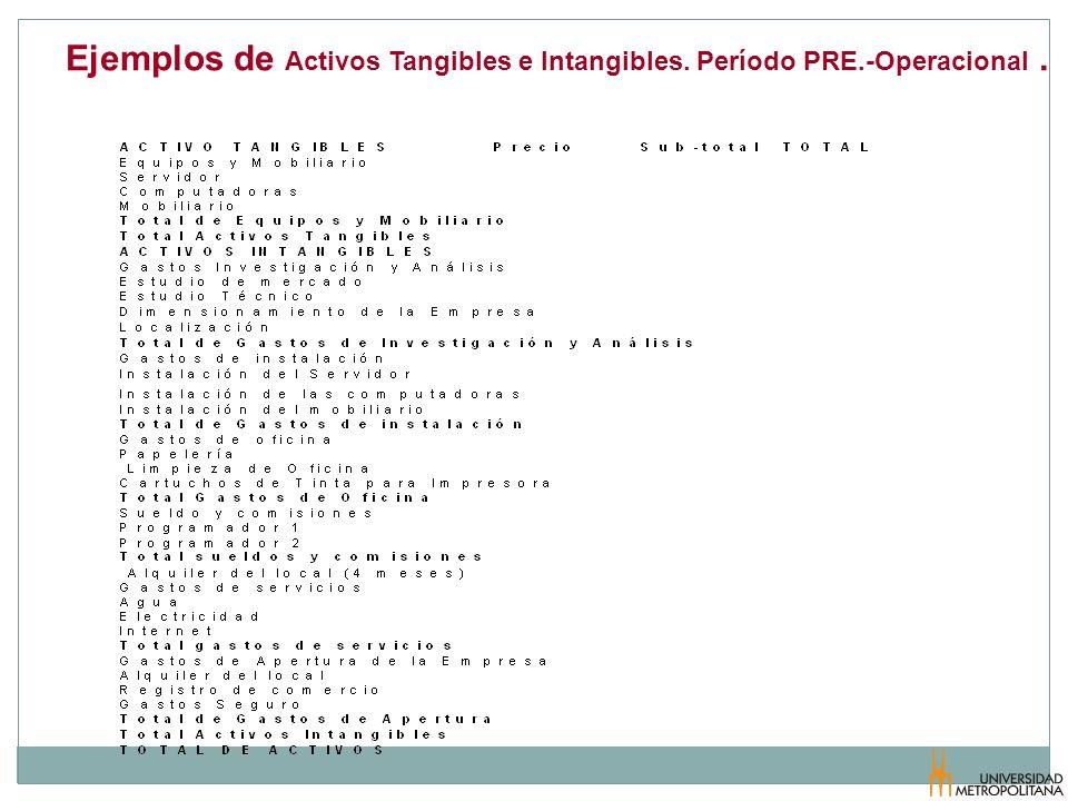 Ejemplos de Activos Tangibles e Intangibles. Período PRE.-Operacional .