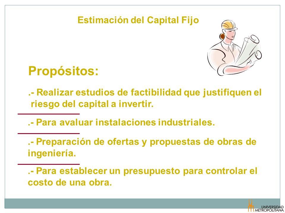 Propósitos: Estimación del Capital Fijo