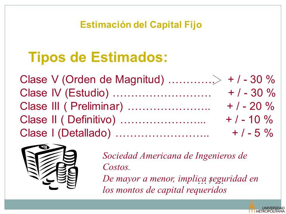 Tipos de Estimados: Clase V (Orden de Magnitud) …………. + / - 30 %