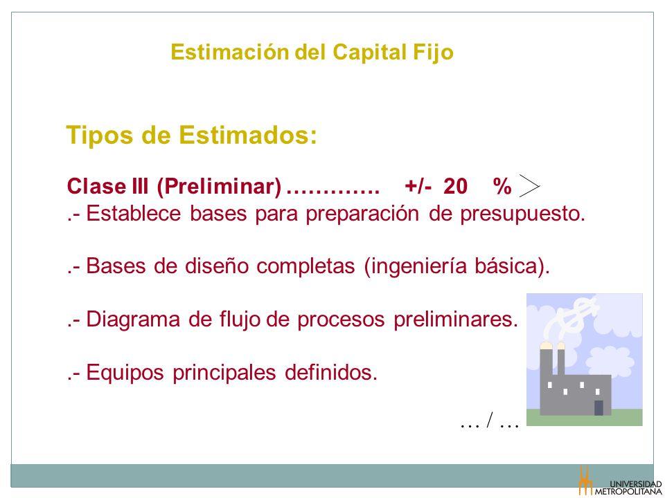 Tipos de Estimados: Estimación del Capital Fijo